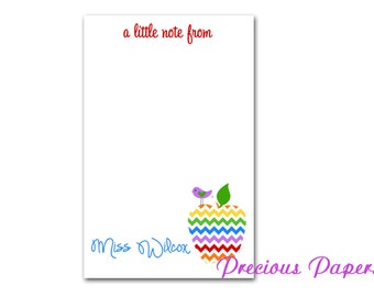 Personalized Rainbow Chevron Teacher note pads Personalized teacher gift Personalized teacher chevron apple notepad apple note pad