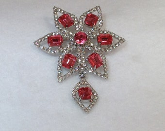 Pink and Clear Brooch