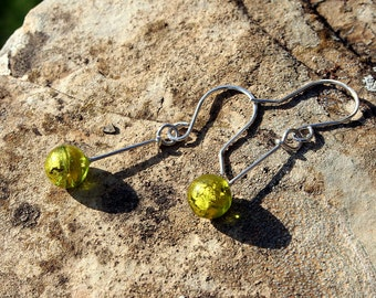 Lime green Murano Glass beads Dangle Earrings on Handcrafted Sterling Silver Earrings