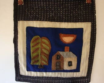 Felted wool hand appliqued wall hanging, vintage home decor, home and living, wool applique, wool applique, wall hanigng