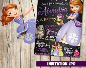 Invitación de Princesa Sofía, Princesa Sofía partido, invitación de cumpleaños de Princesa Sofía, Princesa Sofía invitación, invitación de Sofia la primera
