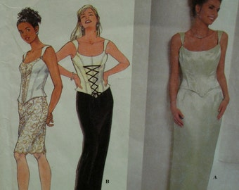 Bustier Evening Gown Pattern, Straps, Lace Up Front, Straight Fitted Skirt, 2-Piece, Simplicity No. 7637 Size 16
