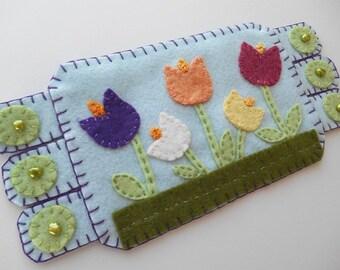Spring Tulips, Coffee Coaster, Flower Mug Rug, housewarming gift
