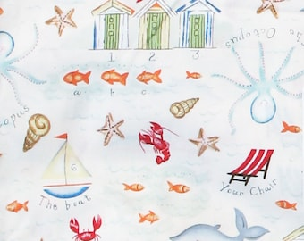 Sea Life, Fish Fabric,Beach Fabric,Summer,Octopus,Cute,Children,Starfish, Lobster, Whale, Ocean, Sailboat, Beach Chair, Shells, Quilt Fabric