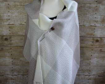 Tan and Cream Bold Block Pattern Hand Woven Shawl, White Woven Shawl, Taupe Woven Shawl