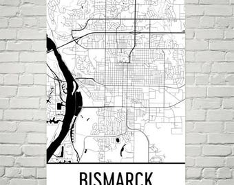 Bismarck ND Map, Bismarck Art, Bismarck Print, Bismarck Poster, Bismarck Wall Art, North Dakota Gifts, Map of North Dakota, Poster, Decor
