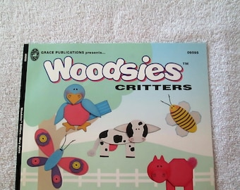 Pattern Book, Woodsies Critters by Mary Ayres, 19 pages, new