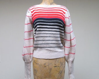 Vintage 1970s Sweater / 70s Striped Boho Puffed Sleeve Pullover / Medium