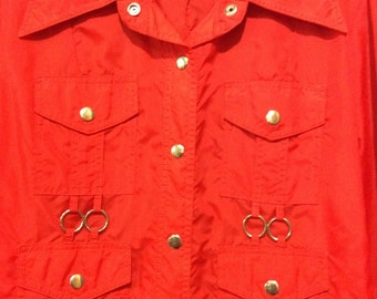 Vintage Young Rebel Lightweight Red Raincoat Jacket Size M
