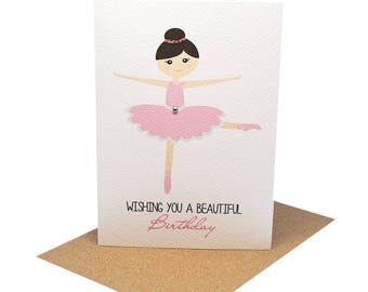 Birthday Card Girl,  Ballerina Card, Ballet Card, Birthday Girl Card, Card with Ballerina, Ballerina Lover Card, Card for Girl HBC204
