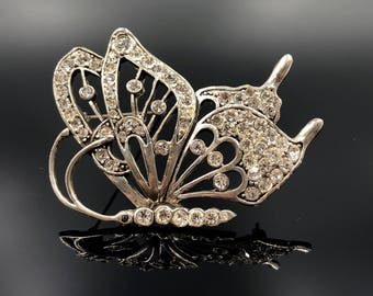 Rhinestone Butterfly Brooch, Crystal Butterfly PIn, Silver Plated Vintage Butterfly, Silver Butterfly, Figural Pin, Insect Brooch