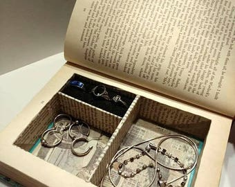 Jewelry Box Book - Hollow Book Jewelry Box - Decorative Jewelry Box Book Safe Made From A Vintage Book - With or Without Magnetic Closure