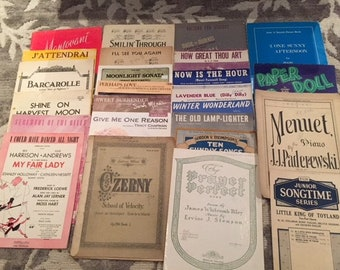 Antique and Vintage Sheet Music, 25 sets of Sheet Music 1800-1990s, Religious Sheet Music, Craft Paper