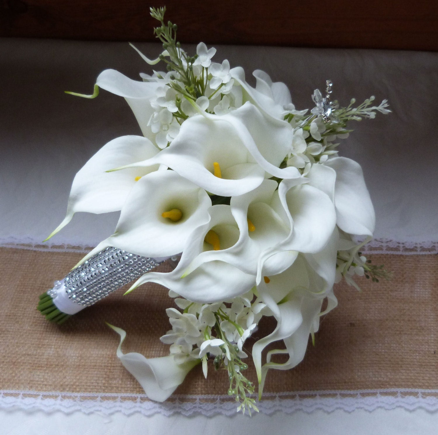 White Calla lily wedding bouquet Real touch mini white calla