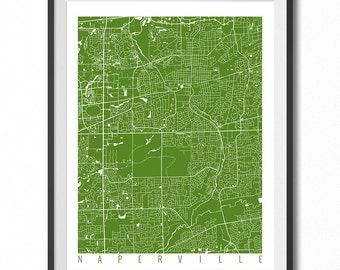 NAPERVILLE Map Art Print / Illinois Poster / Naperville Wall Art Decor / Choose Size and Color