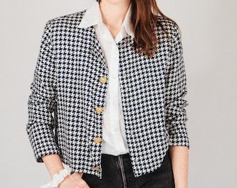 Navy and White Houndstooth Jacket with Gold Buttons M