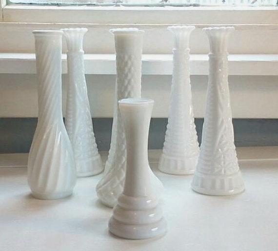 Vintage White Milk Glass Vases Flower Vases Table Decor