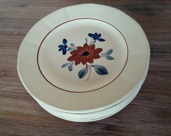 French vintage set of 4 dessert plates Digoin Sarreguemines