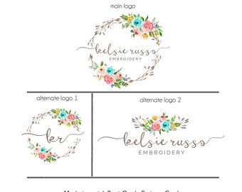 Floral Premade Logo Suite - Set of 3 Logos, Watercolor Design Logo, Floral Logo, Wreath Logo, Embroidery Logo, Mint Flowers Logo
