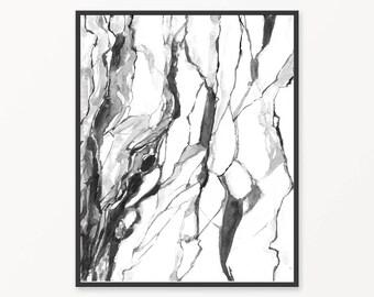 Printable black and white, printable marble print, marble wall art, marble painting, black and white wall art, modern print, abstract art