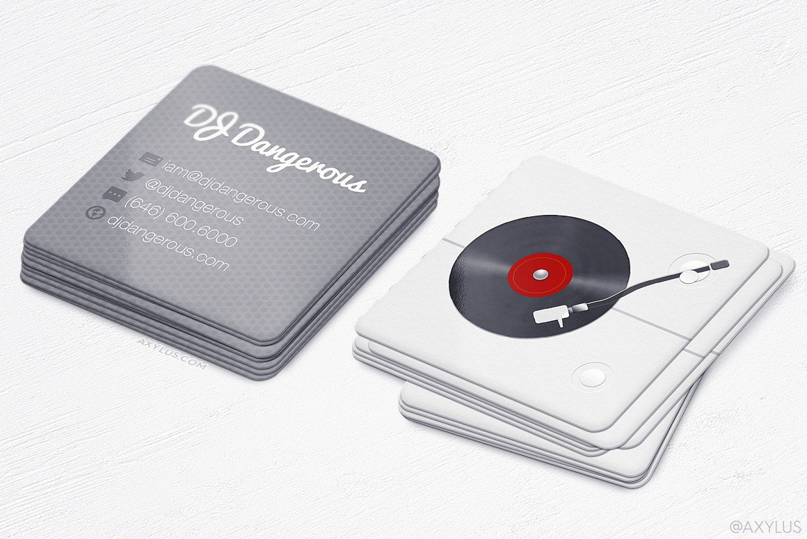 Mini dj turntable cards realistic square business cards zoom reheart Image collections