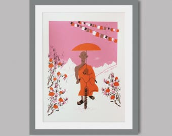 The Cycling Monk - Limited Edition - Hand Pulled silkscreen print of 12