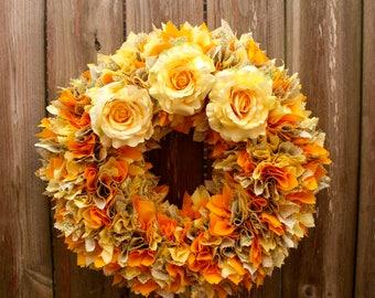 Spring Fabric Wreath, Orange and Yellow Wreath, Cotton Wreath, Door Wreath, Yellow Roses, Housewarming Gift