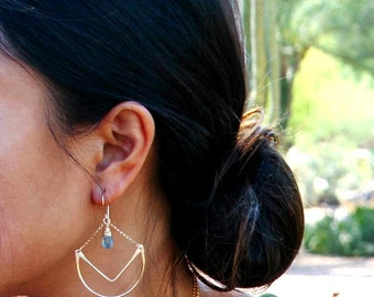 Gemstone Chandelier Hoop Earrings , Moss Aquamarine Statement Hoops in Gold , Rose Gold , Sterling Silver , Geometric Chevron - Tulip