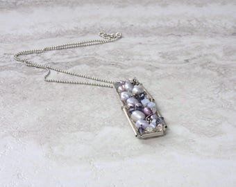 Bar Pendant Necklace in Purple Lavender amethyst-Wired Sterling Silver Dog Tag Pendant with Freshwater Pearls (also  Pink Rose Quartz)
