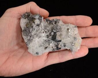Quartz Crystals and Galena Specimen - Peru Closed Mine - (SKU 08) Raw Rocks and Minerals Chakra Healing Crystals and Stone Natural Mineral