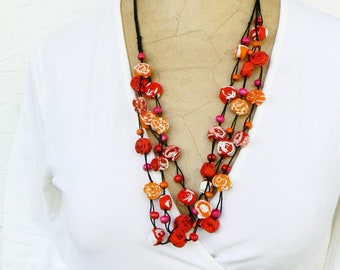 Boho chic Textile Necklace, Long Gypsy necklace, Ecofriendly cotton jewelry, Hippie style, Fabric romantic necklace, Bold Red, Orange, Pink
