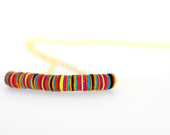 Round module multicolor leather necklace