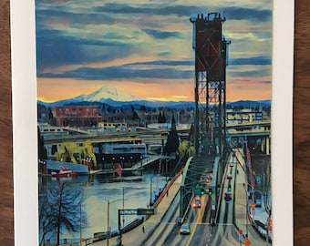 Hawthorne Bridge notecard with view of Mt. Hood, Portland, Oregon