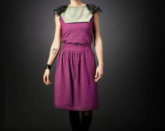 """Bib """"Plum"""" jewel of handmade clothing made from recycled material"""