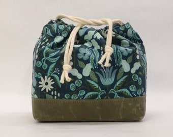 Rifle Paper Co Amalfi Freja Turquoise Large Drawstring Knitting Project Craft Bag - READY TO SHIP
