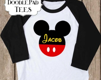 Personalized Disney Raglan Shirt, Minnie Mouse Baseball shirt, Youth Sizes
