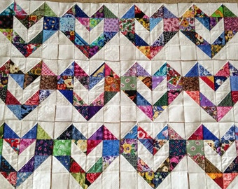 12 COLOR COLLECTION Scrappy Love Hearts  Quilt Top Fabric Blocks 100% Cotton Made in USA