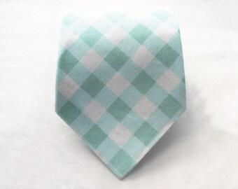 Men's Necktie - Mint Gingham