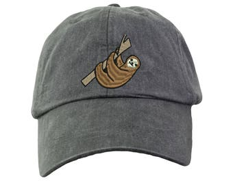 Sloth Embroidered Baseball Hat. Sloth Baseball Cap.  Funny Sloth Gifts.  Sloth Beach Hat. Cool Mesh Lining & Adjustable Strap. HER-LP101