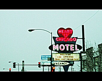 Chicago Photography, Heart 'O' Chicago Motel, mid-century vintage neon sign photo, Edgewater, Chicago Art, travel, hot pink, black, 50s, 60s