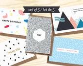 100 Lots de 5 cartes de voeux + enveloppes