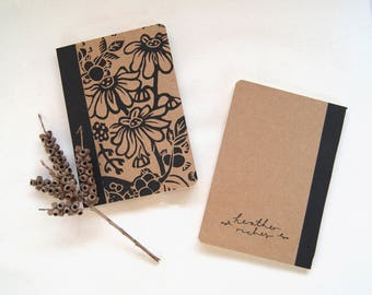 Mouse In The Hedgerow- Mini Linoprint Notebook Paperback Kraft Cover