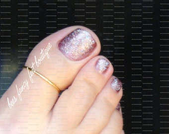 Big Toe Ring, Gold Toe Ring, Gold Ring, Stretch Bead Toe Ring
