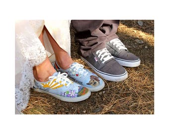 Custom Wedding VANS Bride's Love Story Wedding Shoes Customized VANS Wedding Shoes Pet Wedding Colorado Wedding Bride's Shoes Vans Gift