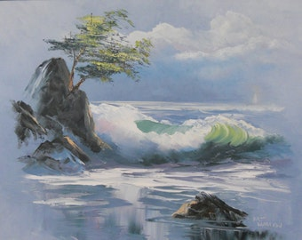 """Impressionistic Oil Painting, """"Seascape with Tree,"""" Size 18 in. x 24 in."""