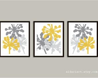Modern Flower Buds Art Prints - Set of 3 prints - Mustard Yellow and Gray - Modern Flowers Wall Art - Flowers Posters - Aldari Art