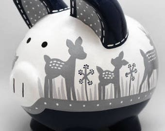 Willow Deer Silhouette Personalized Piggy Bank in Navy and Grey