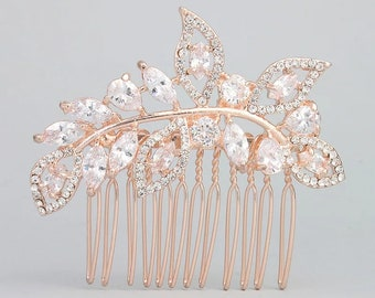 Rose gold hair comb-rose gold hairpiece