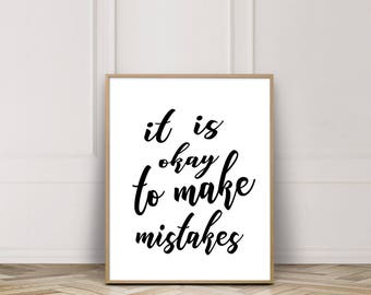 It is Okay to Make Mistakes, PRINTABLE ART, Inspirational Quote, Classroom Wall Poster, Print, Motivational Art