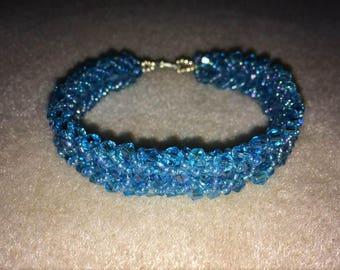 Blue Flat Spiral Bracelet